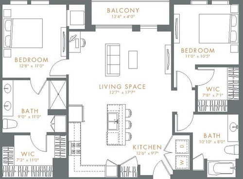 Woodview Apartments 2 Bedroom/2 Bath Floor Plan